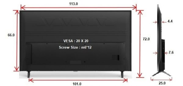 מידות לטלוויזיה TCL 50P8M