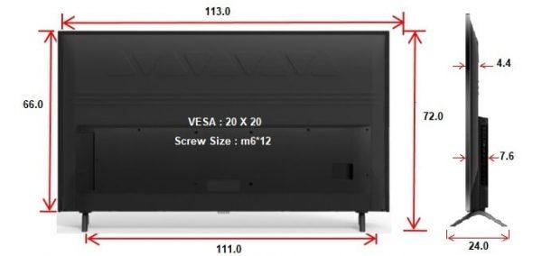 מידות לטלוויזיה TCL 50P8