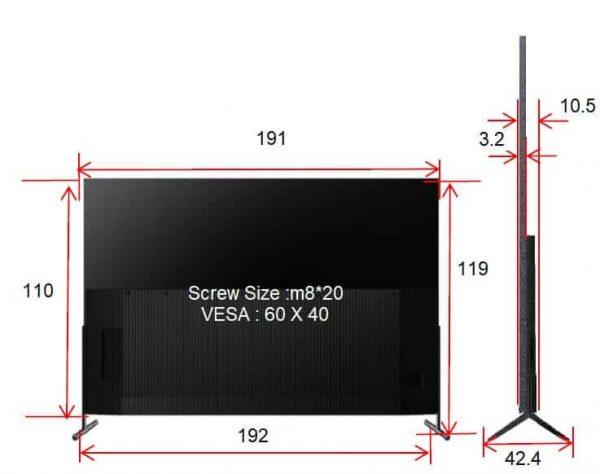 מידות של מסך 85P8M TCL