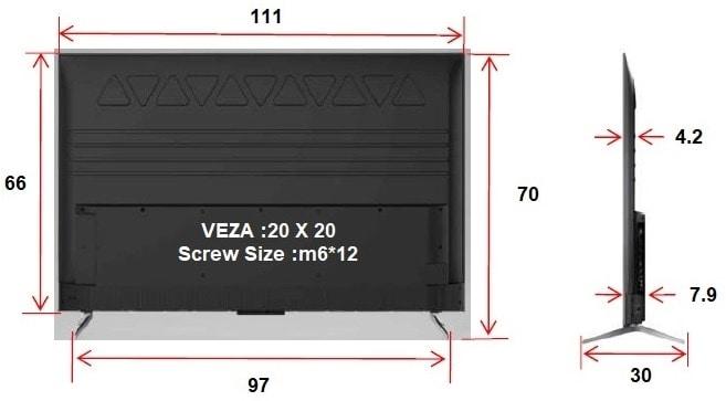 מידות עבור מסך TCL 50P715